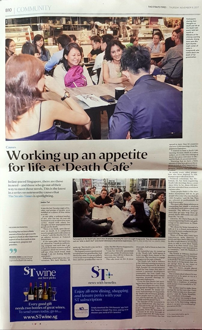 Up Your Game's Death Cafe gets Featured in Straits Times Newspaper